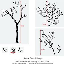 wall tree stencil large tree with birds wall stencil reusable stencil for better than wallpaper tree wall tree stencil
