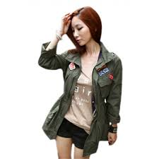 autumn clothing military style fashion women s jacket army green free size search results alexnld com