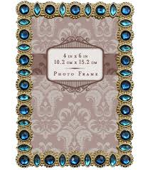 jeweled metal frame with blue stones 4x6 gold