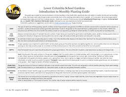 Lower Columbia School Gardens Introduction to Monthly Planting Guide