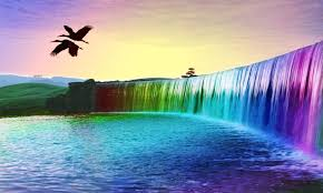 Rainbow waterfall ...