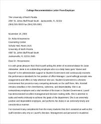 Sample Recommendation Letter For Student From Employer Free 8 Sample Letters Of Recommendation For Employment Doc