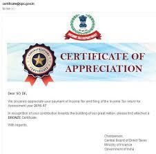 Certificate Of Appreciate Income Tax Certificate Of Appreciation
