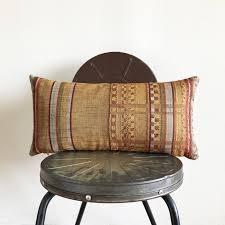 vintage anese mustard yellow striped wool kimono obi lumbar pillow cover size 11x22