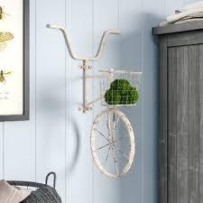 metal bicycle wall d cor on iron bike wall decor with basket with vintage bicycle decor wayfair