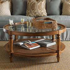 Round Wood And Glass Coffee Table Round Coffee Table With Storage Also  Rattan Table Stand