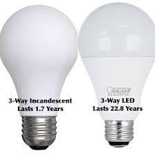 3 way standard incandescent bulbs vs led bulbs parison