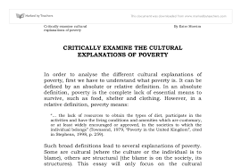 critically examine the cultural explanations of poverty gcse  document image preview