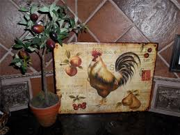 Wooden Plate Racks For Kitchens French Country Tuscan Rooster Metal Sign Plaque Wall Plate Rack