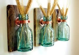 Glass Bottle Decoration Ideas Glass Bottle Decor Green Honey Bottles Rustic Wall Decor Kitchen 94