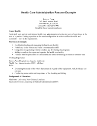 Health Administration Sample Resume 1 Healthcare Example ...