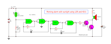 Light Alarm Circuit With Ldr Morning Sun Alarm Circuit Using Ic 4011 Eleccircuit Com