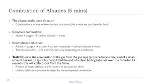 title lesson 3 alkanes learning objectives ppt incomplete combustion of heptane