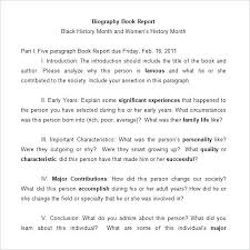 School Book Template Middle Biography Report Memory
