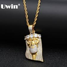 uwin gold color religious full iced out cubic zirconia necklace pendant hiphop jewelry for men