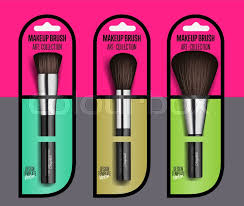 realistic makeup brush set isolated vector ilration cosmetic 3d object collection fashion and beauty professional makeup artist brush in