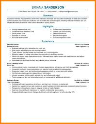 Delivery Driver Resume Pizza Sample Drivers Transportation