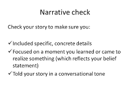 this i believe essay check check off the following in your essay 2 narrative check check your