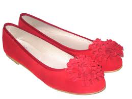 20858212 red leather ballerina big flower insole leather