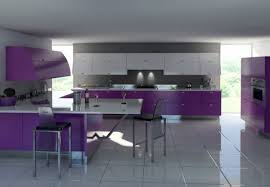 Kitchen:White Purple Two Tone Kitchen Cabinet Ideas And White Laminate  Ceramic Floor Tile White