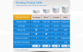 table graphic design. pricing table design graphic