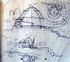we came to this land and designed our two bedroom house with a conservatory we were going to build four domes and surround them by curving walls