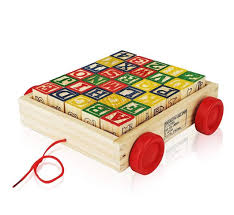 30 pcs alphabet wooden blocks building abc numbers block letters pull wagon toy