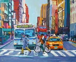 new york art nyc bus taxi urban fine art print cityscape colors on street blue red yellow new york painting by gwen meyerson