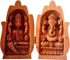 collectible india wooden lakshmi ganesh statue lucky palm idol showpiece 15 cm