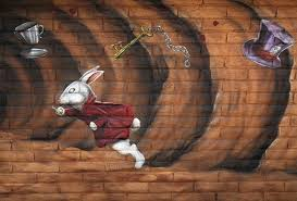a detail shot of one of the exterior murals at the rabbit hole