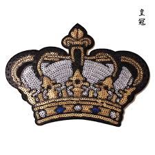 2019 <b>GUGUTREE Embroidery Paillette Big</b> Crown Patches Sequin ...
