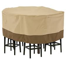 classic accessories veranda large tall round patio table and 8 tall chairs set cover