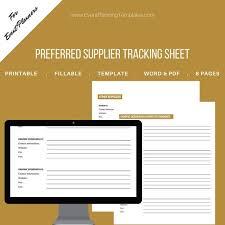 Vendor List Template Stunning Vendor List Preferred Supplier Fillable Tracking Sheet For Etsy