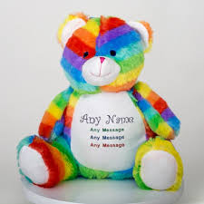 Personalised Embroidered Cubbies Rainbow Bear Soft Toy The Gift