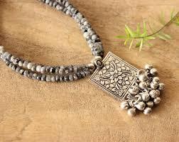 ethnic grey black gemstone beaded handmade necklace