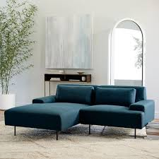 Beckham 2-Piece Chaise Sectional - Blue Teal (Twisted Slub)
