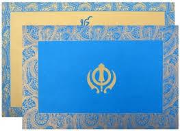 shubhankar sikh wedding cards & punjabi wedding invitations Punjabi Wedding Cards Vancouver blue sikh motif card Punjabi Wedding Cards Sample