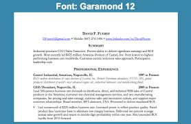 Resume Font: Garamond 12