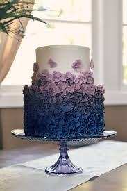 Modern Elegant Wedding Cake With Ruffles Ombre From Royal Blue To