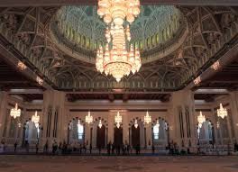 inside the prayer hall in the sultan qaboos grand mosque with a 14 meter tall