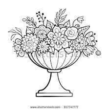 Small Picture Vase Flowers Big Flower Pot Monochrome Stock Vector 617747777