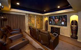 basement home theater room. decorations:egypt style basement home theater room decor ideas brown leather sofa classic