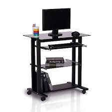 homcom computer workstation glass pc laptop desk table stand w wheels black