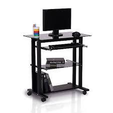 homcom computer workstation glass pc laptop desk table stand w wheels black