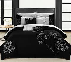 image of black and white comforter