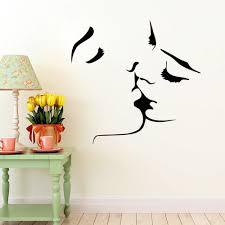 Romantic Bedroom Wall Decor Kiss Wall Stickers Lover Wall Decal Home Bedroom Wall Decor