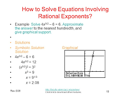 how to solve equations involving rational exponents