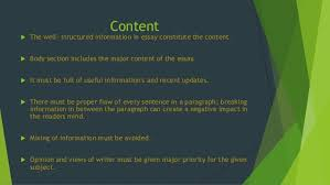 tips for writing impressive essay 6 content  the well structured information in essay