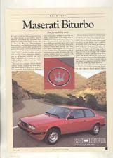 maserati biturbo fuel sending units 1984 maserati biturbo roadtest brochure ww5063