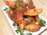 bacon wrapped potato with honey scallion sauce